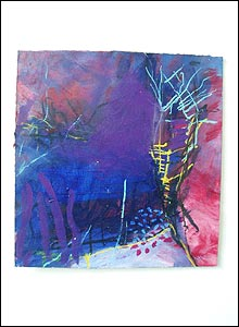 Photo of a colourful, abstract painting with a sub-aquatic quality