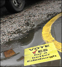 Yes leaflet in puddle: Picture by Steven McKenna, Edinburgh