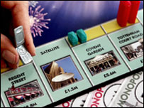 Monopoly board with latest mobile counter