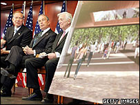 New York Governor George Pataki (left) at the unveiling of the International Freedom Center in May 2005