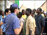 Immigrants at temporary centre in Melilla