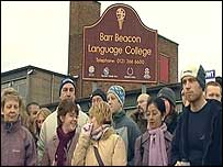 Striking teachers outside Barr Beacon Language College