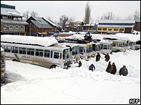 A snow covered bus station outside Viltengnar in Indian-administered  Kashmir