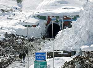 Snowfall in Indian-administered Kashmir