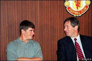 Roy Keane is revealed by Manchester United chairman Martin Edwards after arriving at Old Trafford from Nottingham Forest in 1993