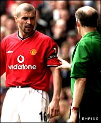 Roy Keane and referee David Elleray