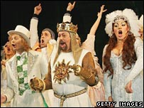Spamalot cast take a bow on opening night in March 2005