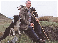 Erwyd Howells with his dogs on a mid Wales hillside - copyright Erwyd Howells