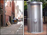 Image comparing alleyway running off Shaftesbury Square with the new-fangled Urilift