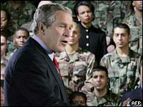 President Bush addresses troops in Germany