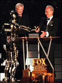 Rupert Murdoch with Star Wars' C3PO