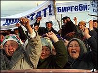 Supporters of Kyrgyz candidate Arslanbek Maliyev