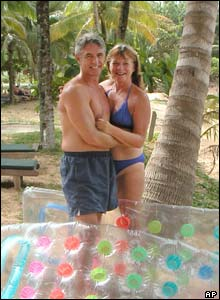 John and Jackie Knill pose on holiday in Khao Lak, Thailand