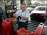 Man filling up car in Mississippi
