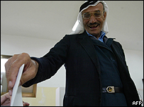 Voter in the West Bank