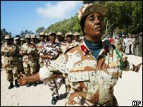 Female members of the former Somali army march in Mogadishu.