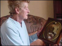 Barbara Edwards with a photograph of her late son Wayne