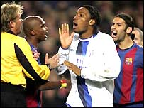 Rafael Marquez (right) looks on as Didier Drogba is sent off