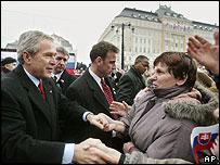 President Bush meets Slovaks in Bratislava