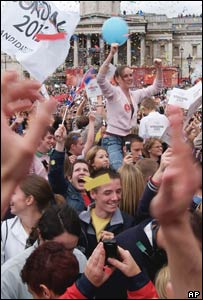 People celebrating in Trafalgar Square