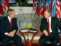 President Bush and President Putin meet in the castle in Bratislava