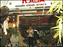 Bomb damaged restaurant in Kuta, Bali