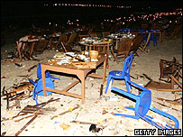Aftermath of blast at seafront restaurant in Jimbaran