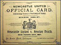 Programme for 1897 match between Newcastle United and Newton Heath