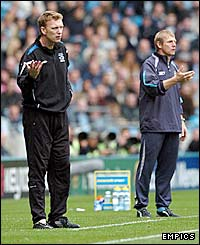 Everton boss David Moyes and his Manchester City counterpart Stuart Pearce