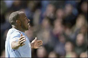 Darius Vassell celebrates his goal for Manchester City