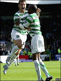 Shaun Maloney and Mo Camara celebrate at Almondvale
