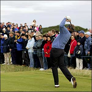 Colin Montgomerie drives off the fourth tee
