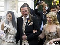 Yevhenia Tymoshenko, Sean Carr and Yulia Tymoshenko at the wedding on Sunday