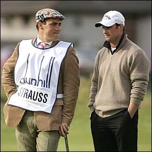 While England Ashes star Andrew Strass and his caddie