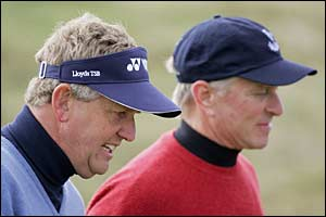 Colin Montgomerie and playing partner Michael Douglas