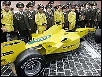Jordan present their new car to the media in Red Square