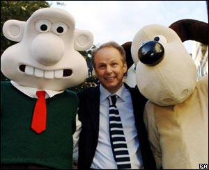Nick Park (centre) with Wallace and Gromit