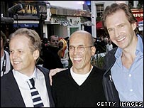 Nick Park, Jeffrey Katzenberg and Ralph Fiennes