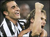 Pavel Nedved (right) celebrates his goal with team-mate Fabio Cannavaro