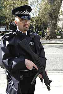 Armed police officer in London
