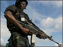 A rebel in Cap-Haitien, days before Aristide was overthrown in February 2004