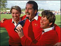 Paul Way (left), Sam Torrance (centre), Ian Woosnam (right)
