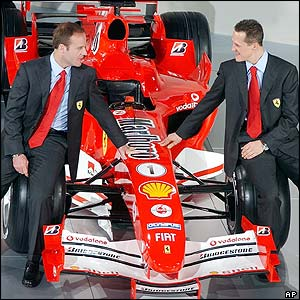 Michael Schumacher and team-mate Rubens Barrichello sit on the F2005