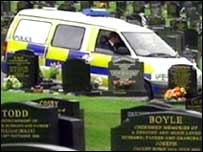 Police were on duty in the cemetery