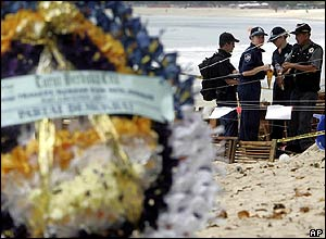 Australian and Indonesian forensic investigators at the scene of a bomb explosion on Jimbaran Beach, Bali
