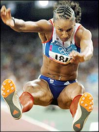 Jade Johnson in action at the Athens Olympics