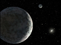 An artist's concept of the Eris and its moon (R Hurt, IPAC)