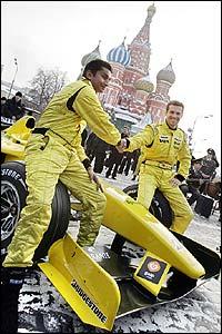 Jordan drivers Narain Karthikeyan and Tiago Monteiro shake hands