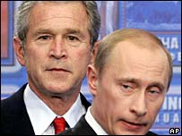 Russian President Vladimir Putin, right, and US President George W Bush