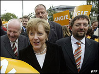 Christian Democrat (CDU) leader Angela Merkel and candidate Andreas Laemmel campaigning in Dresden